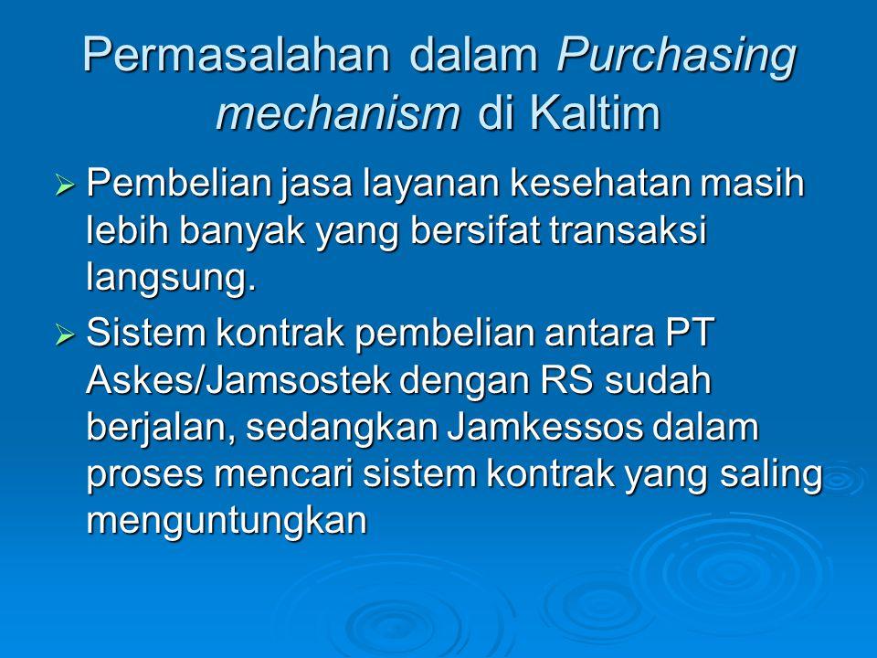 Permasalahan dalam Purchasing mechanism di Kaltim  Pembelian jasa layanan kesehatan masih lebih banyak yang bersifat transaksi langsung.  Sistem kon