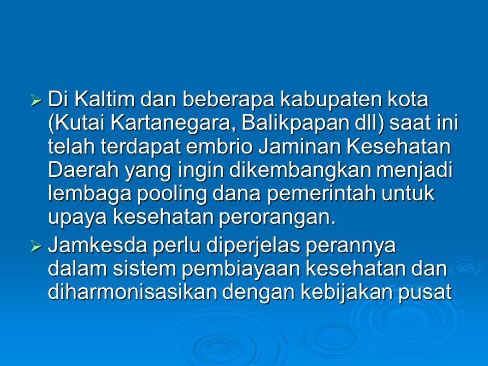  Di Kaltim dan beberapa kabupaten kota (Kutai Kartanegara, Balikpapan dll) saat ini telah terdapat embrio Jaminan Kesehatan Daerah yang ingin dikemba