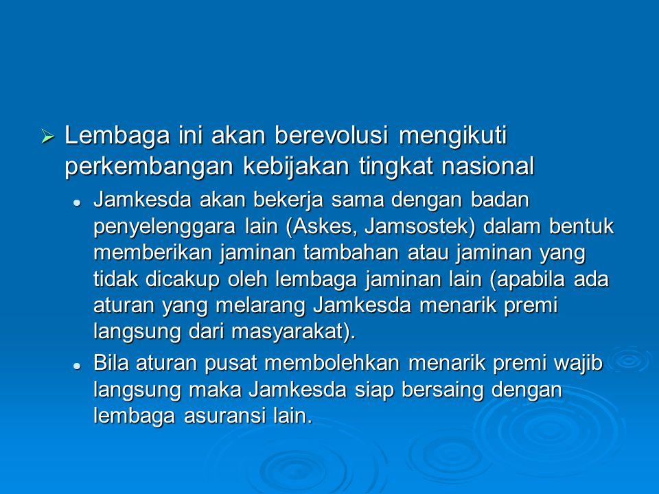  Lembaga ini akan berevolusi mengikuti perkembangan kebijakan tingkat nasional Jamkesda akan bekerja sama dengan badan penyelenggara lain (Askes, Jam