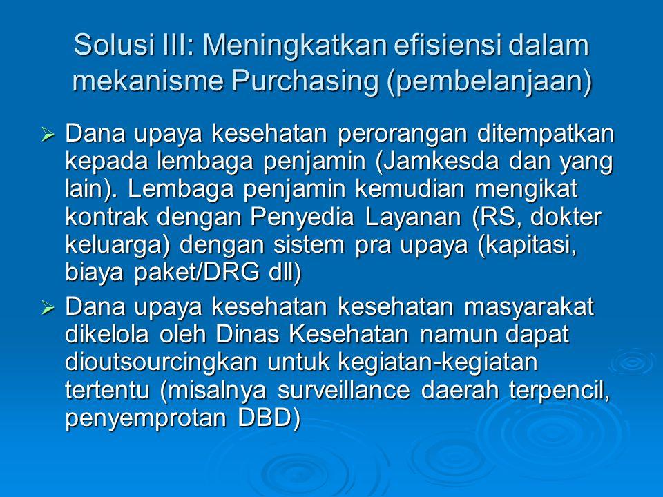Solusi III: Meningkatkan efisiensi dalam mekanisme Purchasing (pembelanjaan)  Dana upaya kesehatan perorangan ditempatkan kepada lembaga penjamin (Ja