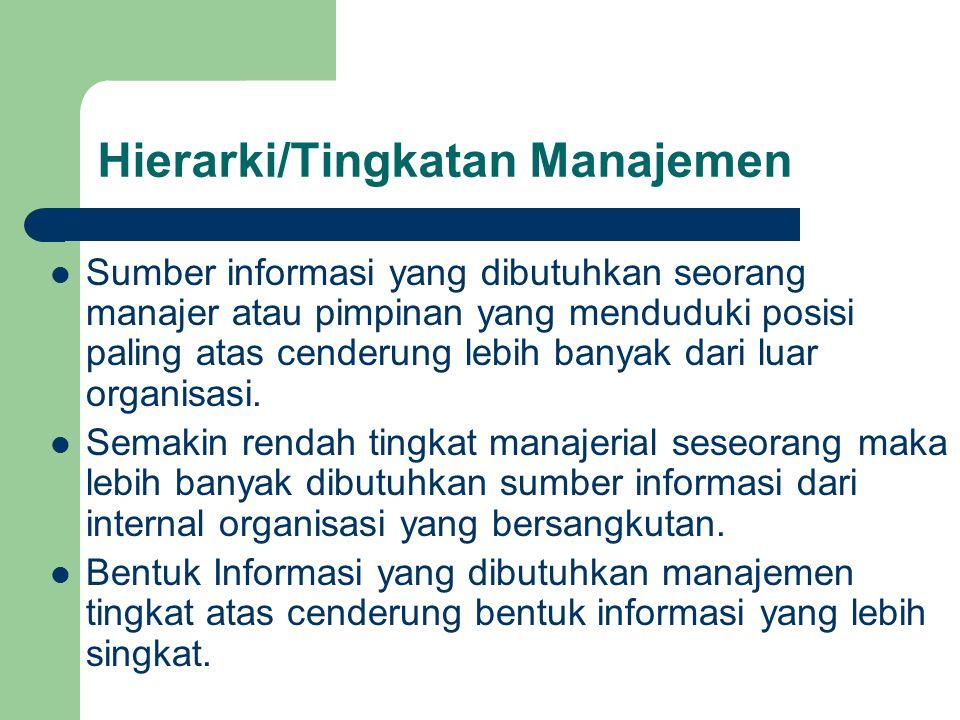 Hierarki/Tingkatan Manajemen Sumber informasi yang dibutuhkan seorang manajer atau pimpinan yang menduduki posisi paling atas cenderung lebih banyak d