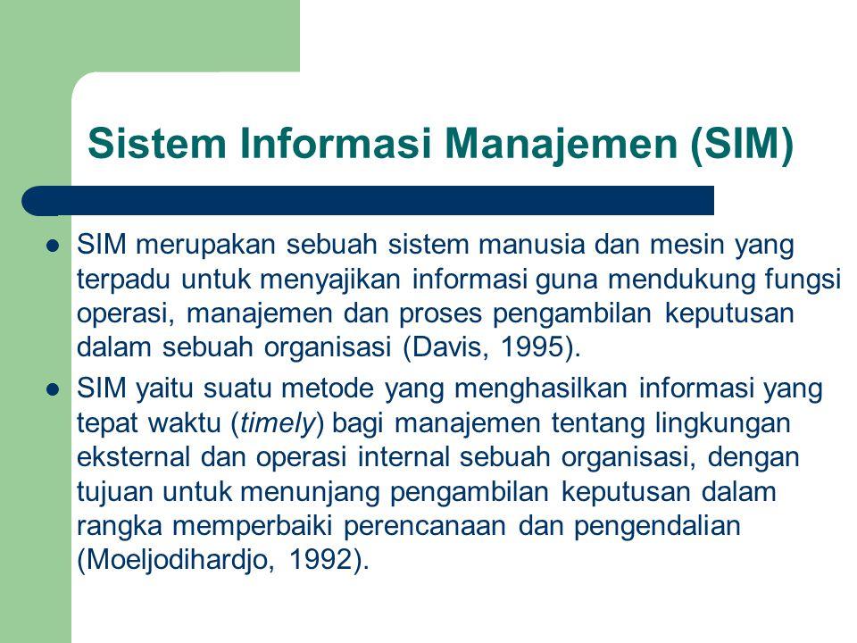 Sistem Informasi Manajemen (SIM) SIM merupakan sebuah sistem manusia dan mesin yang terpadu untuk menyajikan informasi guna mendukung fungsi operasi,