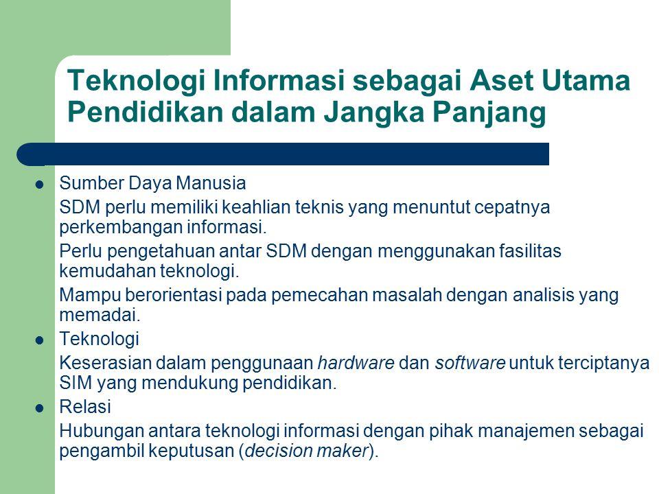 Teknologi Informasi sebagai Aset Utama Pendidikan dalam Jangka Panjang Sumber Daya Manusia SDM perlu memiliki keahlian teknis yang menuntut cepatnya p