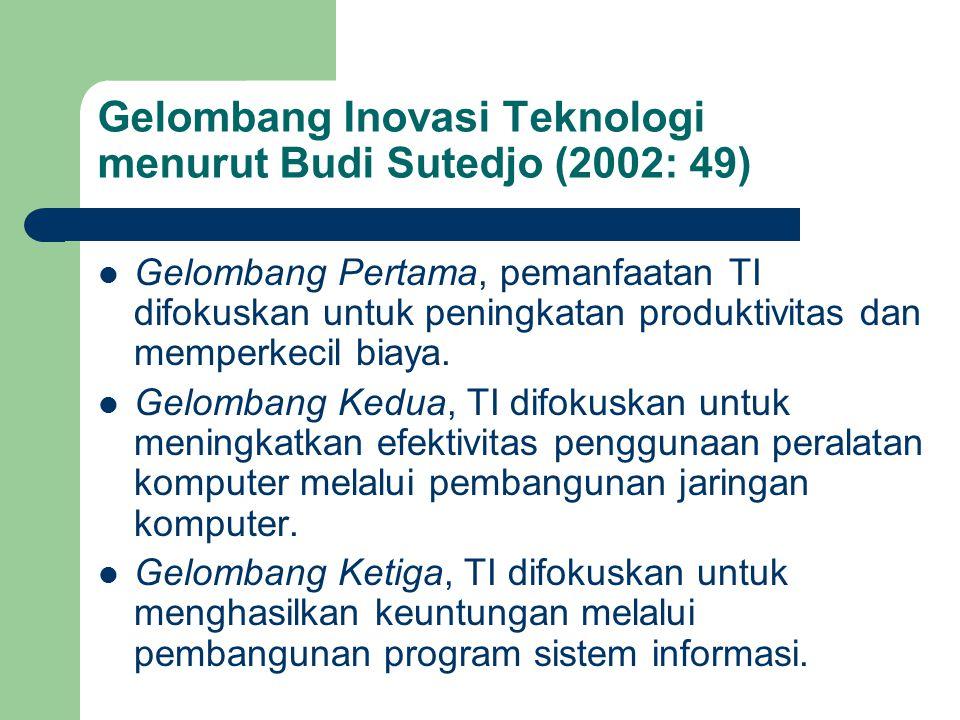 Gelombang Inovasi Teknologi menurut Budi Sutedjo (2002: 49) Gelombang Pertama, pemanfaatan TI difokuskan untuk peningkatan produktivitas dan memperkec