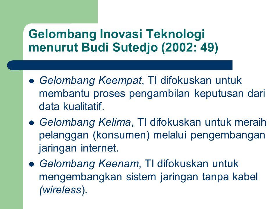 Gelombang Inovasi Teknologi menurut Budi Sutedjo (2002: 49) Gelombang Keempat, TI difokuskan untuk membantu proses pengambilan keputusan dari data kua