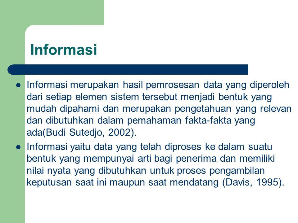 Informasi Informasi merupakan hasil pemrosesan data yang diperoleh dari setiap elemen sistem tersebut menjadi bentuk yang mudah dipahami dan merupakan