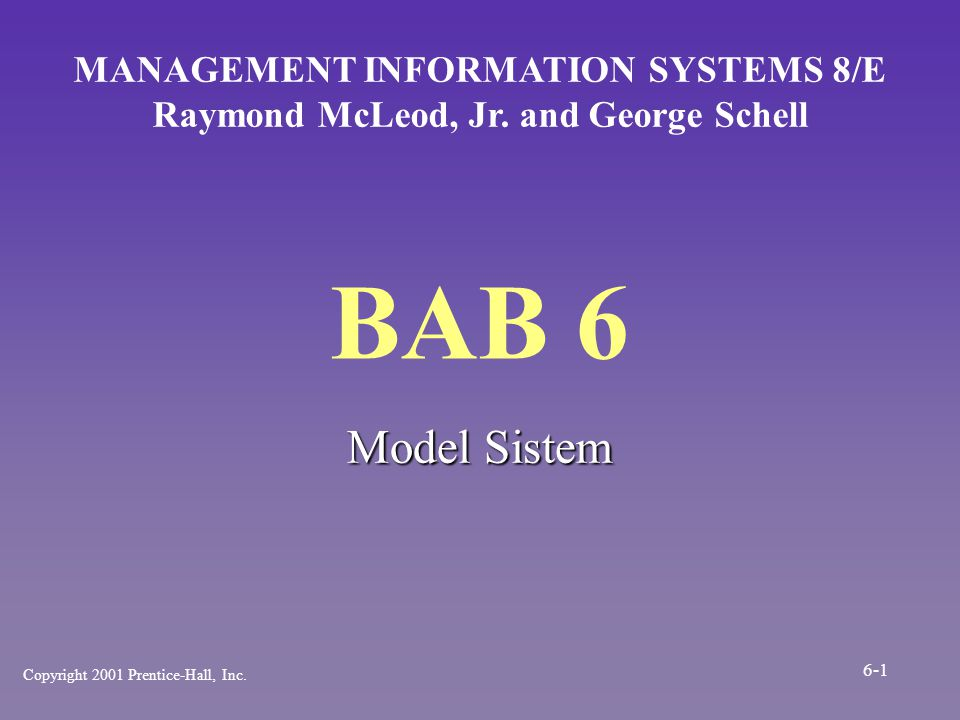 BAB 6 Model Sistem MANAGEMENT INFORMATION SYSTEMS 8/E Raymond McLeod, Jr. and George Schell Copyright 2001 Prentice-Hall, Inc. 6-1