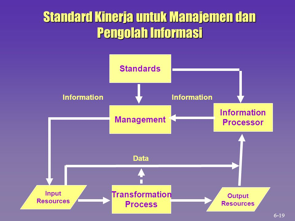 Output Resources Input Resources Management Information Processor Transformation Process Standards Information Data Standard Kinerja untuk Manajemen d