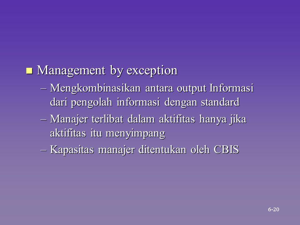 n Management by exception –Mengkombinasikan antara output Informasi dari pengolah informasi dengan standard –Manajer terlibat dalam aktifitas hanya jika aktifitas itu menyimpang –Kapasitas manajer ditentukan oleh CBIS 6-20