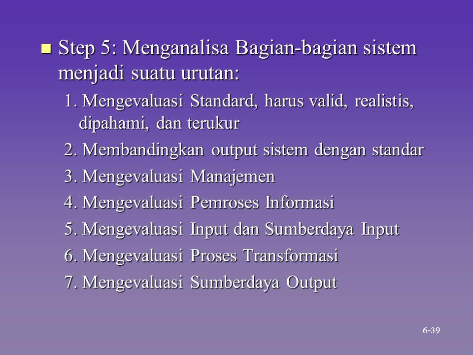 n Step 5: Menganalisa Bagian-bagian sistem menjadi suatu urutan: 1. Mengevaluasi Standard, harus valid, realistis, dipahami, dan terukur 2. Membanding