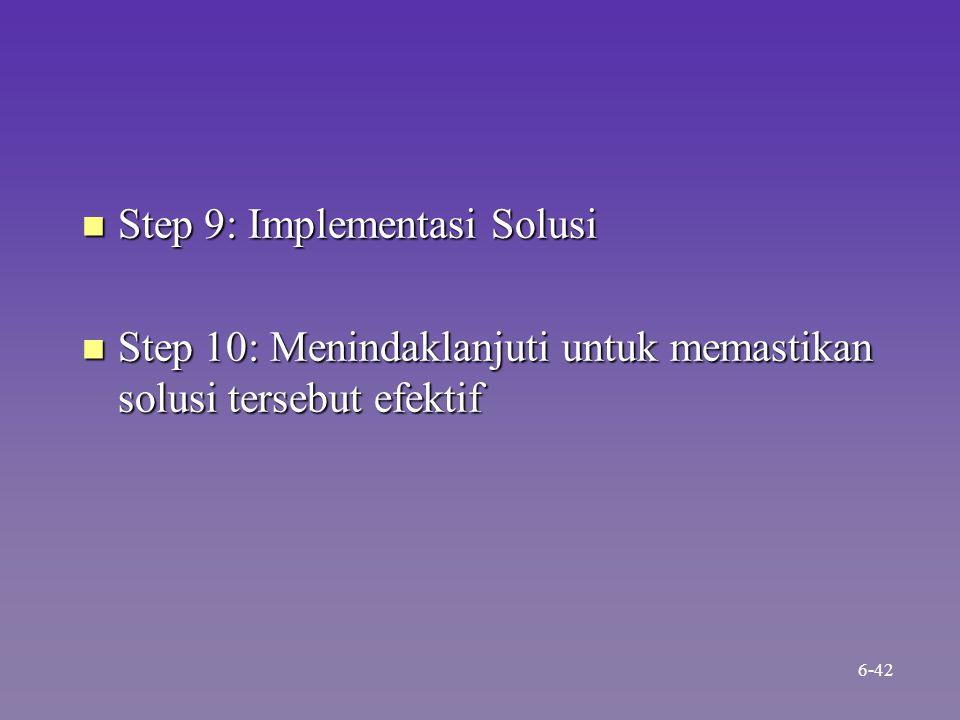 n Step 9: Implementasi Solusi n Step 10: Menindaklanjuti untuk memastikan solusi tersebut efektif 6-42