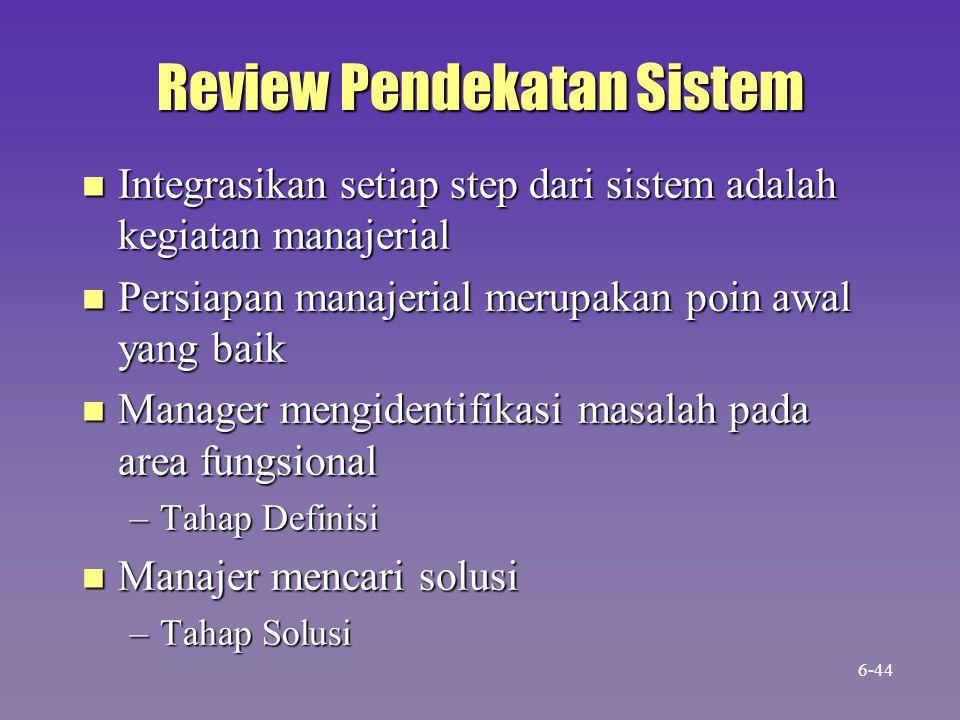 Review Pendekatan Sistem n Integrasikan setiap step dari sistem adalah kegiatan manajerial n Persiapan manajerial merupakan poin awal yang baik n Manager mengidentifikasi masalah pada area fungsional –Tahap Definisi n Manajer mencari solusi –Tahap Solusi 6-44
