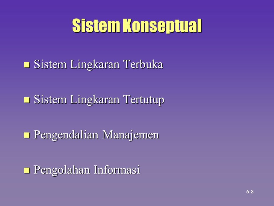 Transformation Process Control Mechanism Input Resources Output Resources Sistem Lingkaran Tertutup Feedback 6-9