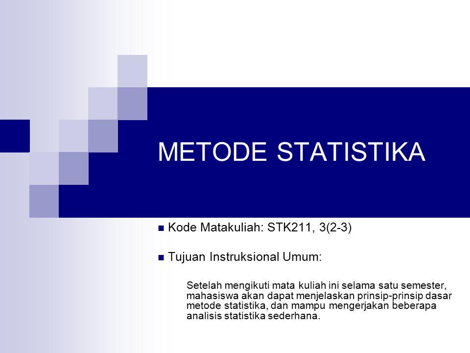 Deskripsi Mata Kuliah Mata kuliah ini menjelaskan prinsip-prinsip dasar metode statistika dan beberapa metode analisis sederhana yang dapat diterapkan pada berbagai bidang terapan, seperti Pertanian, Biologi, Sosial, Bisnis, dan sebagainya.