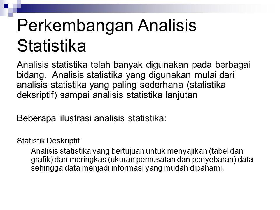 Perkembangan Analisis Statistika Statistik Deskriptif Analisis statistika yang bertujuan untuk menyajikan (tabel dan grafik) dan meringkas (ukuran pem