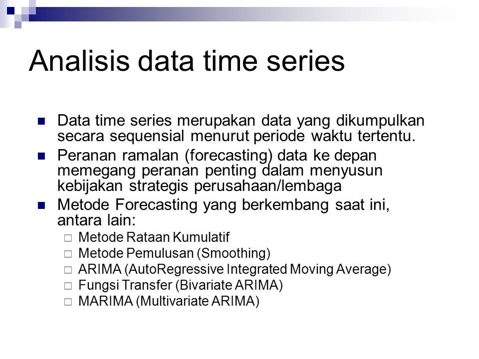 Analisis data time series Data time series merupakan data yang dikumpulkan secara sequensial menurut periode waktu tertentu. Peranan ramalan (forecast
