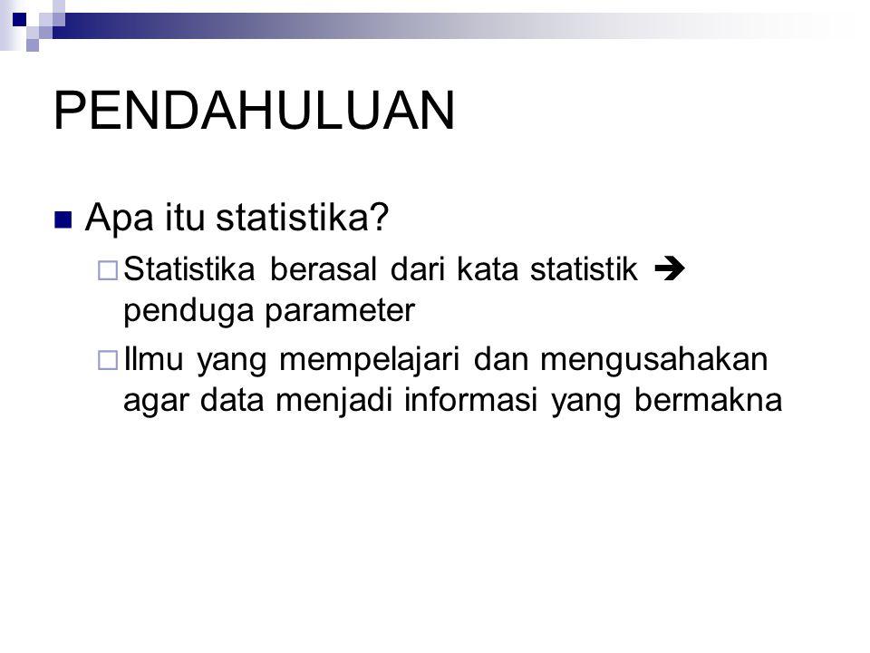 PENDAHULUAN Apa itu statistika?  Statistika berasal dari kata statistik  penduga parameter  Ilmu yang mempelajari dan mengusahakan agar data menjad