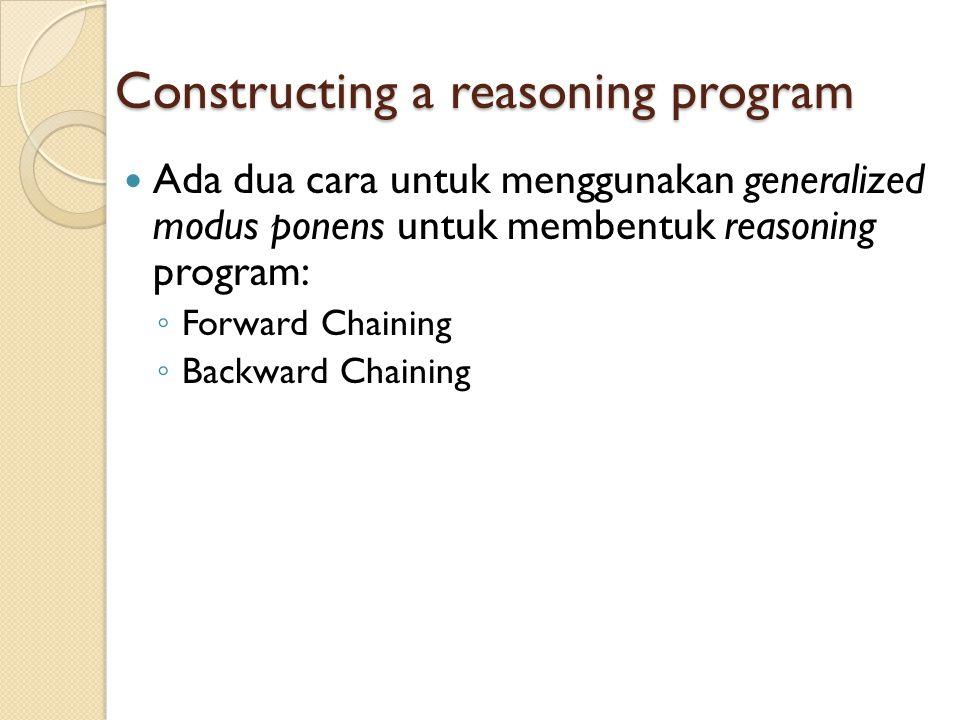 Constructing a reasoning program Ada dua cara untuk menggunakan generalized modus ponens untuk membentuk reasoning program: ◦ Forward Chaining ◦ Backward Chaining