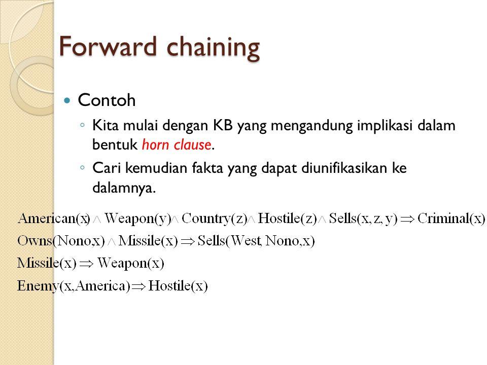 Forward chaining Contoh ◦ Kita mulai dengan KB yang mengandung implikasi dalam bentuk horn clause. ◦ Cari kemudian fakta yang dapat diunifikasikan ke