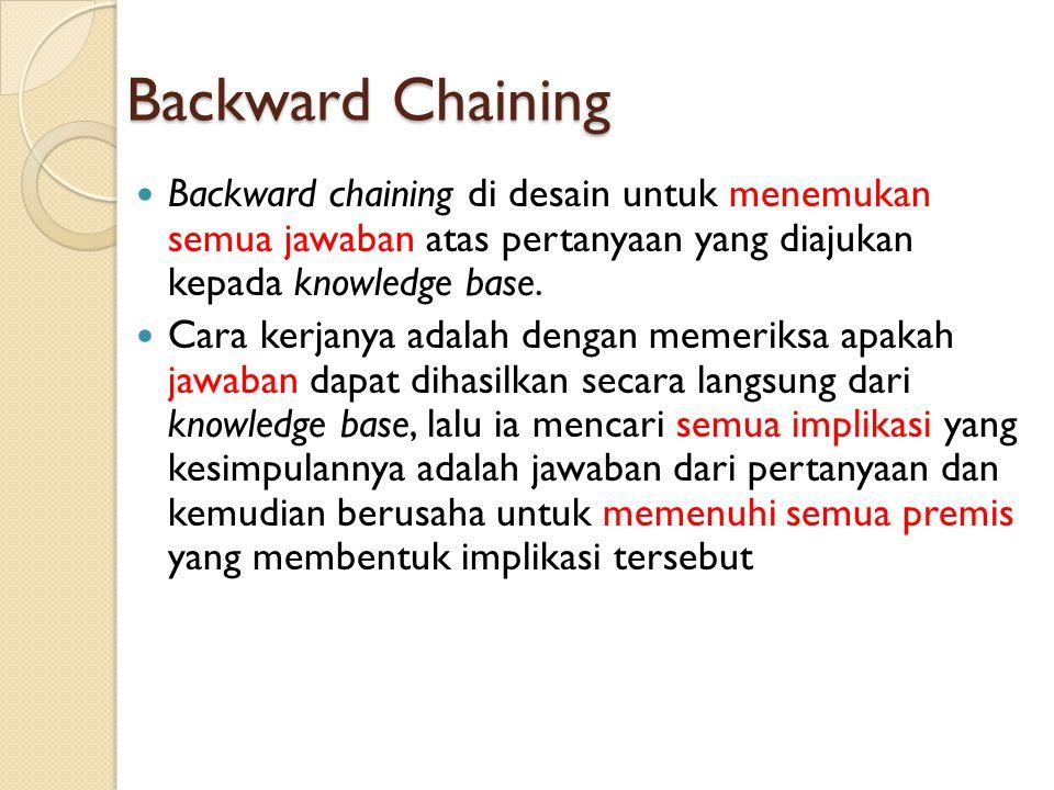Backward Chaining Backward chaining di desain untuk menemukan semua jawaban atas pertanyaan yang diajukan kepada knowledge base. Cara kerjanya adalah