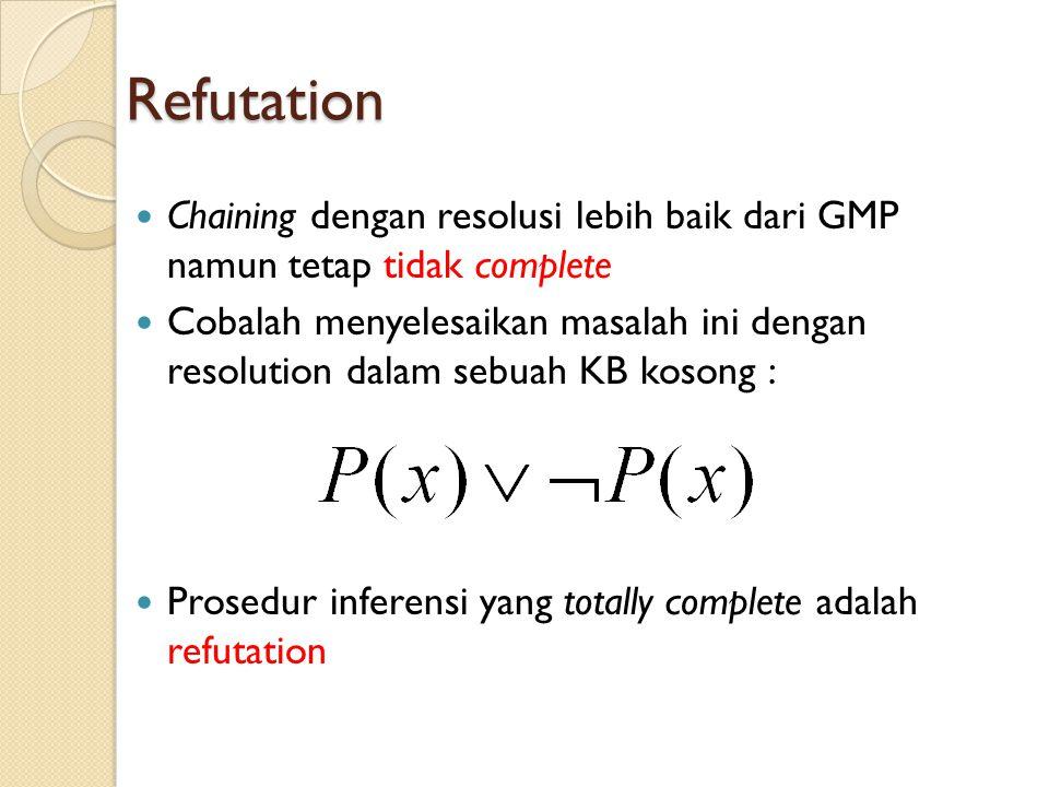 Refutation Chaining dengan resolusi lebih baik dari GMP namun tetap tidak complete Cobalah menyelesaikan masalah ini dengan resolution dalam sebuah KB kosong : Prosedur inferensi yang totally complete adalah refutation