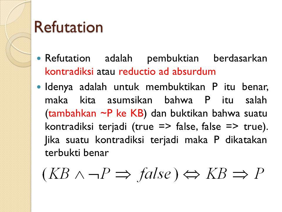 Refutation Refutation adalah pembuktian berdasarkan kontradiksi atau reductio ad absurdum Idenya adalah untuk membuktikan P itu benar, maka kita asumsikan bahwa P itu salah (tambahkan ~P ke KB) dan buktikan bahwa suatu kontradiksi terjadi (true => false, false => true).