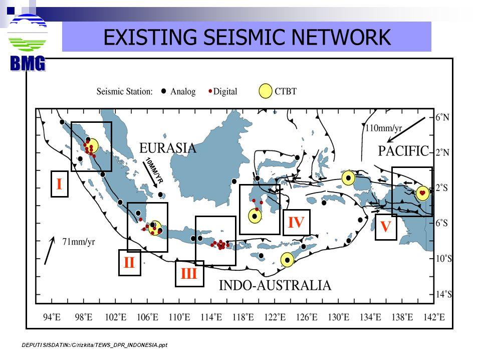 I II III IV V EXISTING SEISMIC NETWORK 10MM/YR DEPUTI SISDATIN:/C/rizkita/TEWS_DPR_INDONESIA.ppt