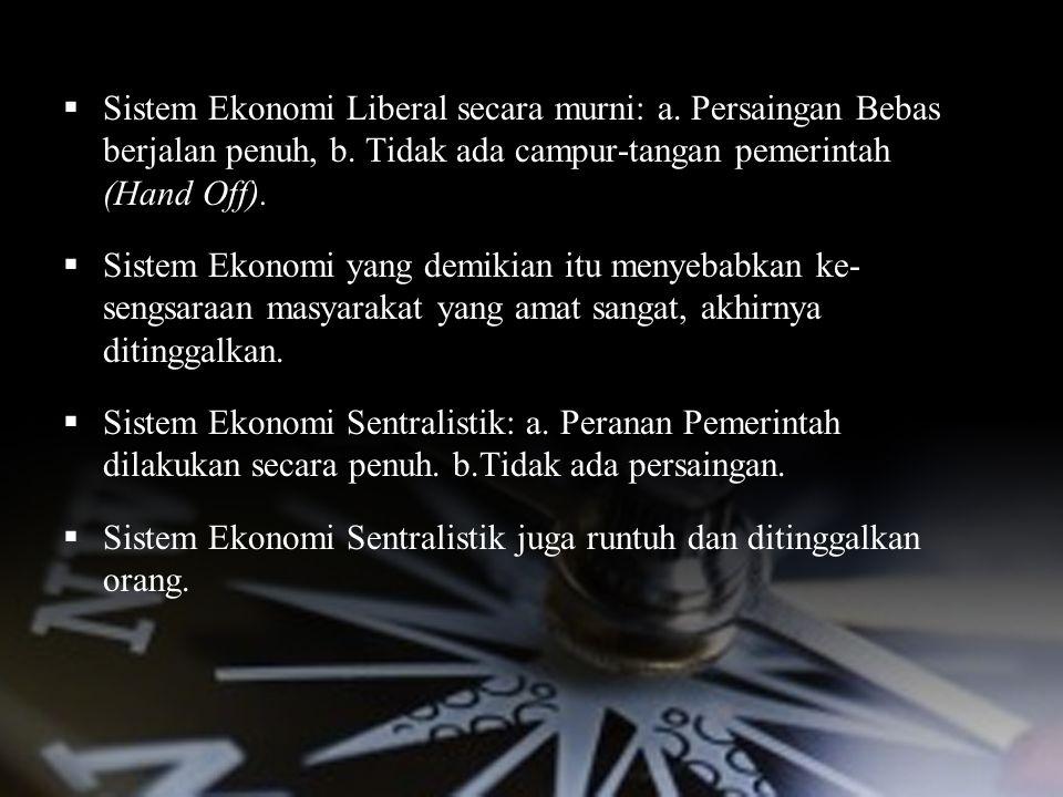 SOLUSINYA: MIXED ECONOMIC SYSTEM  Sistem Ekonomi Liberal secara murni: a. Persaingan Bebas berjalan penuh, b. Tidak ada campur-tangan pemerintah (Han