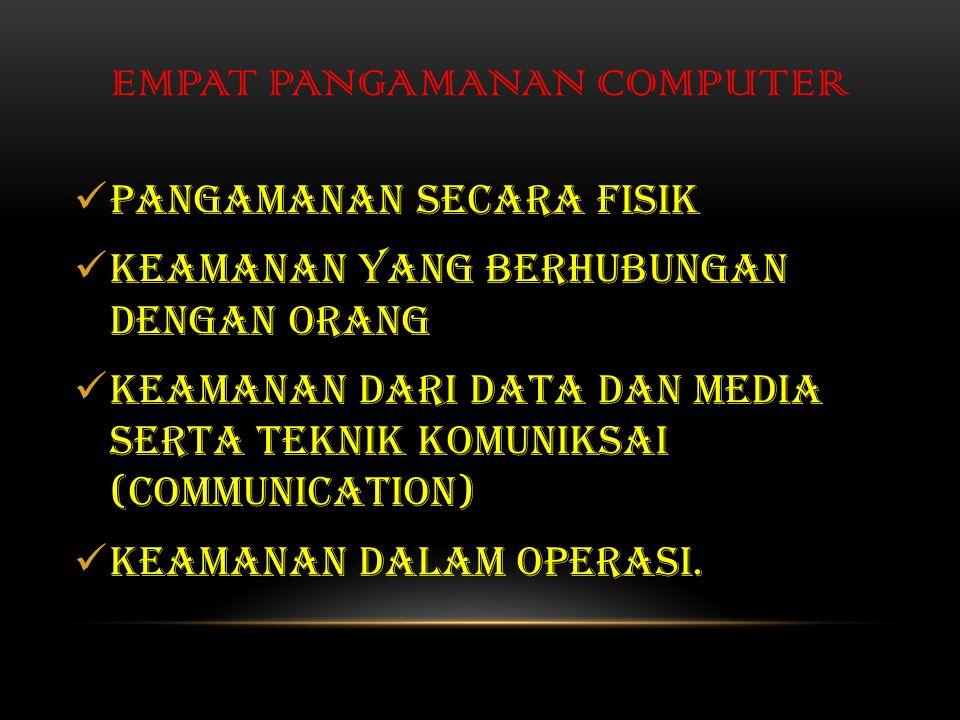 EMPAT PANGAMANAN COMPUTER Pangamanan secara fisik Keamanan yang berhubungan dengan orang Keamanan dari data dan media serta teknik komuniksai (communication) Keamanan dalam operasi.