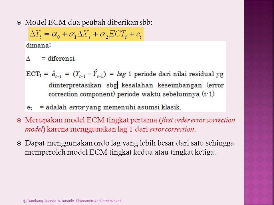  Model ECM dua peubah diberikan sbb:  Merupakan model ECM tingkat pertama ( first order error correction model ) karena menggunakan lag 1 dari error correction.