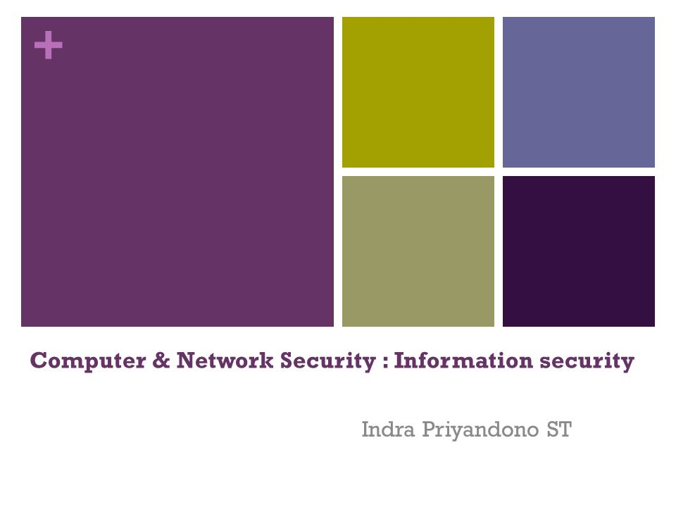 + Computer & Network Security : Information security Indra Priyandono ST