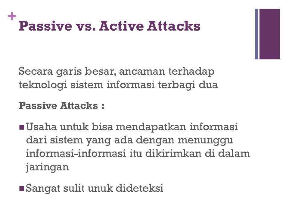 + Passive vs. Active Attacks Secara garis besar, ancaman terhadap teknologi sistem informasi terbagi dua Passive Attacks : Usaha untuk bisa mendapatka