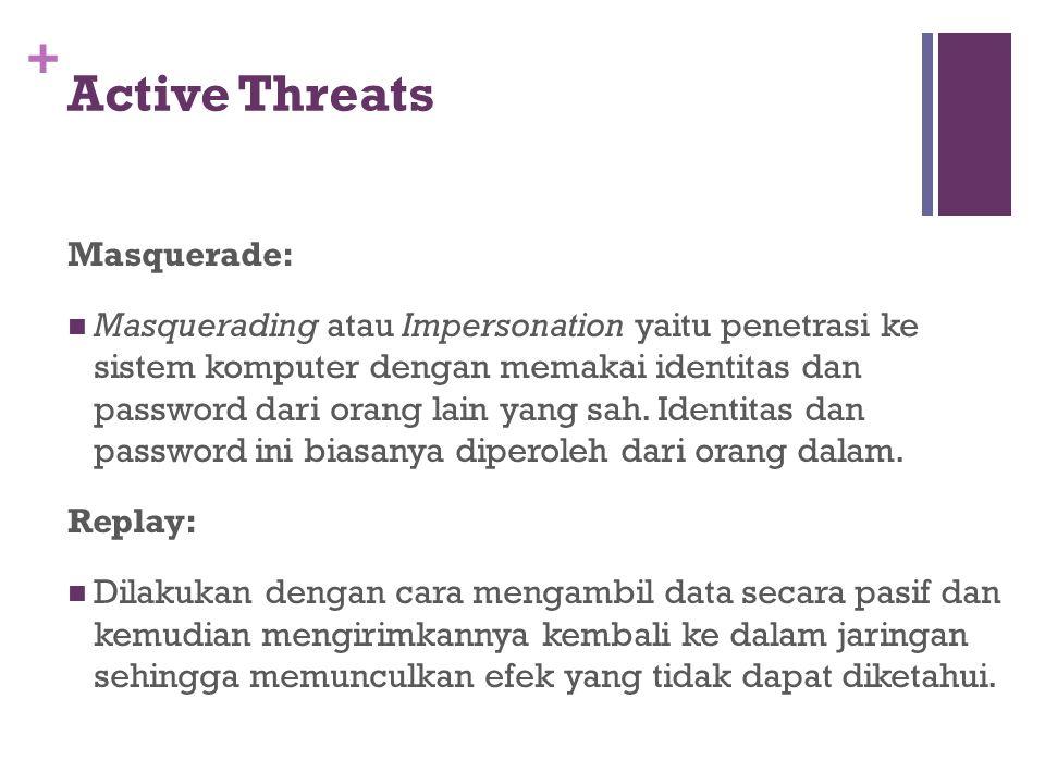 + Active Threats Masquerade: Masquerading atau Impersonation yaitu penetrasi ke sistem komputer dengan memakai identitas dan password dari orang lain