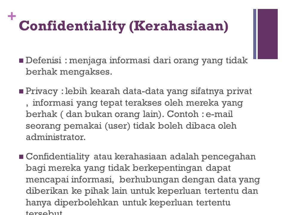 + Confidentiality (Kerahasiaan) Defenisi : menjaga informasi dari orang yang tidak berhak mengakses. Privacy : lebih kearah data-data yang sifatnya pr