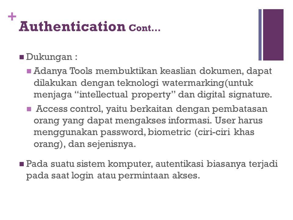 "+ Authentication Cont… Dukungan : Adanya Tools membuktikan keaslian dokumen, dapat dilakukan dengan teknologi watermarking(untuk menjaga ""intellectual"