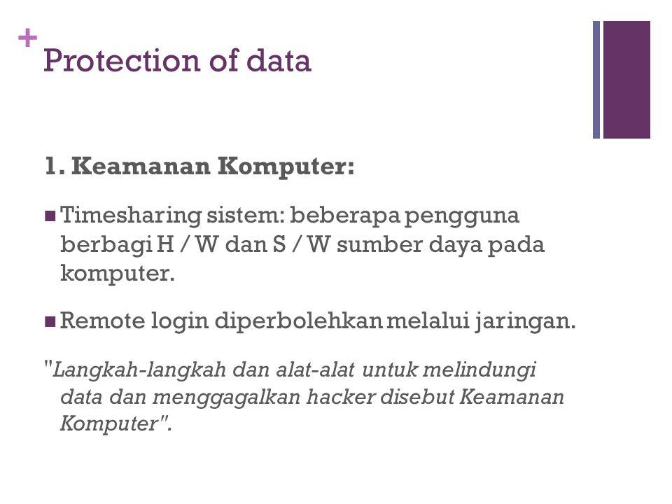 + Protection of data 1. Keamanan Komputer: Timesharing sistem: beberapa pengguna berbagi H / W dan S / W sumber daya pada komputer. Remote login diper