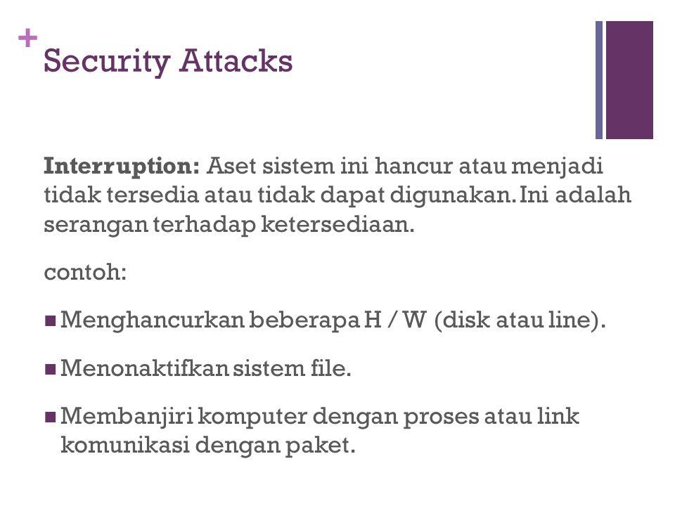 + Interruption: Aset sistem ini hancur atau menjadi tidak tersedia atau tidak dapat digunakan. Ini adalah serangan terhadap ketersediaan. contoh: Meng