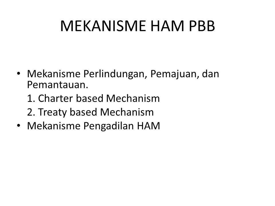 Mekanisme Perlindungan, Pemajuan, dan Pemantauan. 1. Charter based Mechanism 2. Treaty based Mechanism Mekanisme Pengadilan HAM