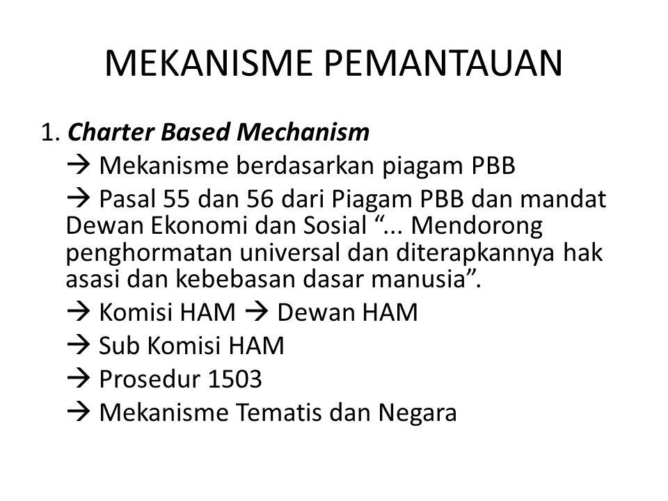 MEKANISME PEMANTAUAN 1. Charter Based Mechanism  Mekanisme berdasarkan piagam PBB  Pasal 55 dan 56 dari Piagam PBB dan mandat Dewan Ekonomi dan Sosi