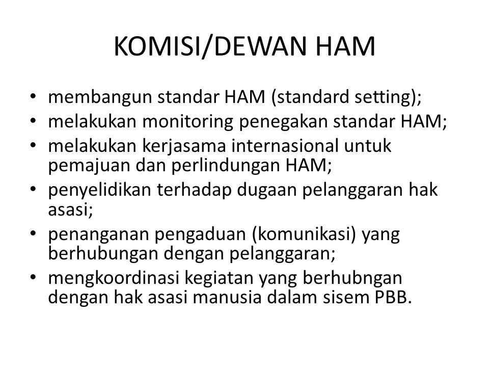 KOMISI/DEWAN HAM membangun standar HAM (standard setting); melakukan monitoring penegakan standar HAM; melakukan kerjasama internasional untuk pemajua