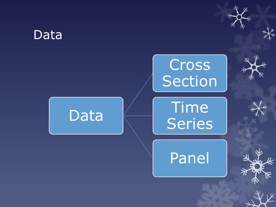 Jenis Data-1 Data Cross-Section  Adalah nilai variabel yang dikumpulkan pada satu periode waktu yang sama dari beberapa individu  Individu bisa berupa negara, daerah, perusahaan atau perorangan dan lain sebagainya.