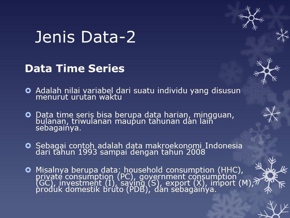 Jenis Data-3 Data Panel  Adalah gabungan time series dan cross-section data.