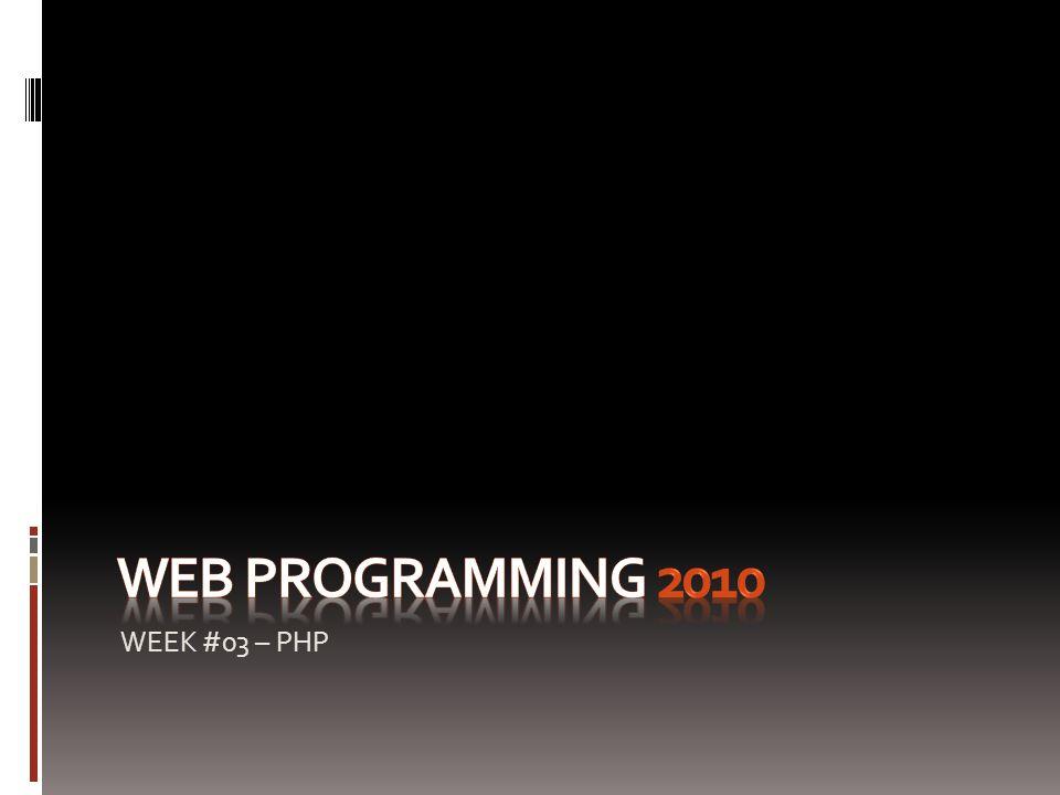 WEEK #03 – PHP