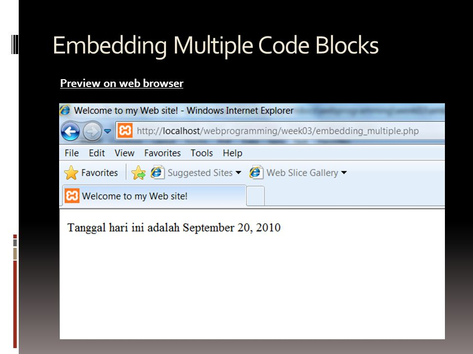 Embedding Multiple Code Blocks Preview on web browser