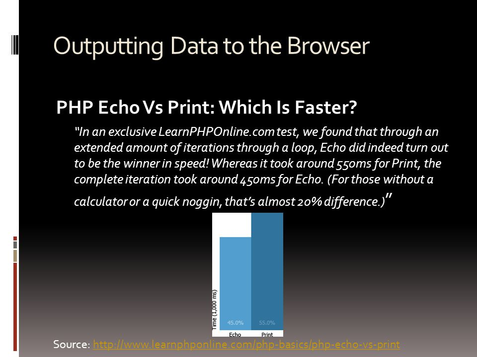 "Outputting Data to the Browser PHP Echo Vs Print: Which Is Faster? ""In an exclusive LearnPHPOnline.com test, we found that through an extended amount"