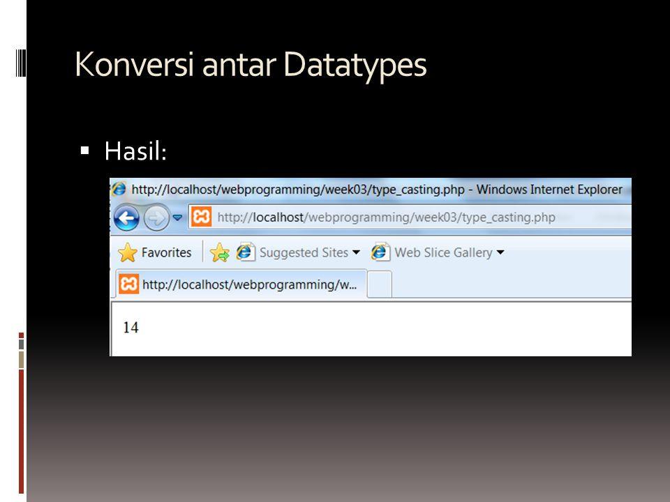 Konversi antar Datatypes  Hasil: