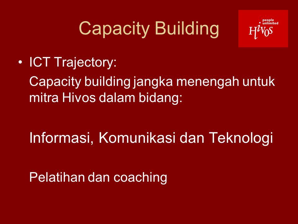 Capacity Building ICT Trajectory: Capacity building jangka menengah untuk mitra Hivos dalam bidang: Informasi, Komunikasi dan Teknologi Pelatihan dan coaching
