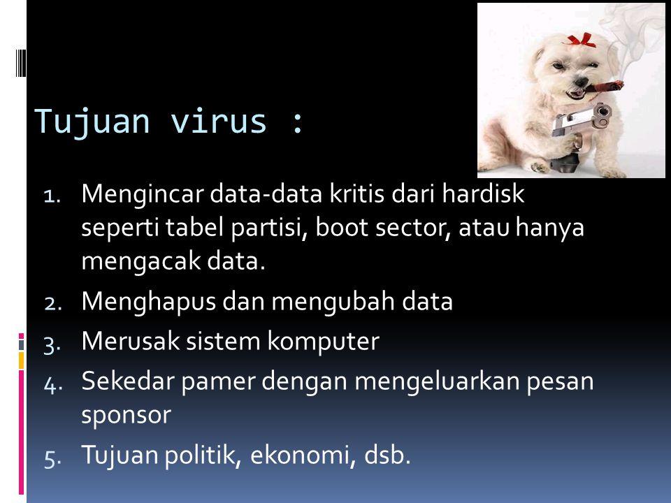 Tujuan virus : 1. Mengincar data-data kritis dari hardisk seperti tabel partisi, boot sector, atau hanya mengacak data. 2. Menghapus dan mengubah data