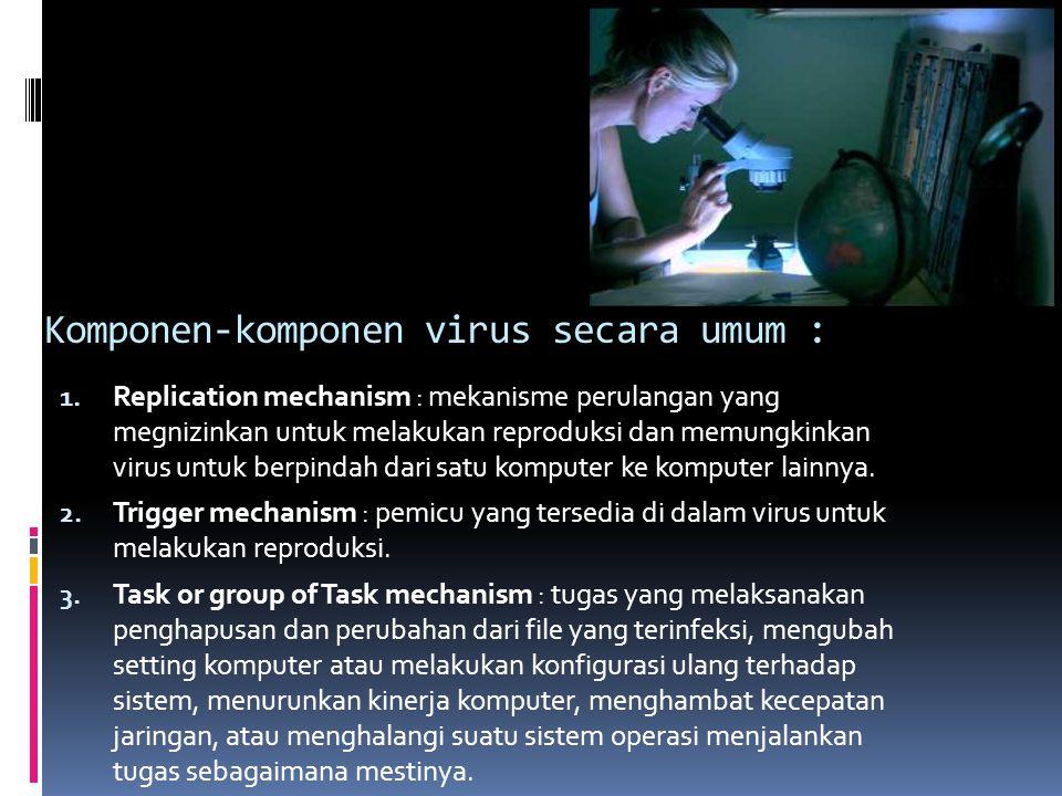 Komponen-komponen virus secara umum : 1. Replication mechanism : mekanisme perulangan yang megnizinkan untuk melakukan reproduksi dan memungkinkan vir