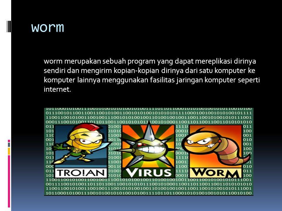 worm worm merupakan sebuah program yang dapat mereplikasi dirinya sendiri dan mengirim kopian-kopian dirinya dari satu komputer ke komputer lainnya menggunakan fasilitas jaringan komputer seperti internet.